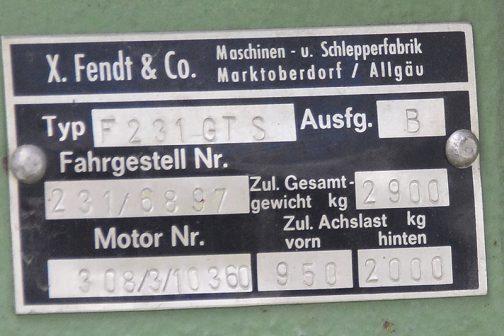 拡大してみます。F231GTSだということがわかります。また、エンジンはMWM D 308-3ということも書かれています。