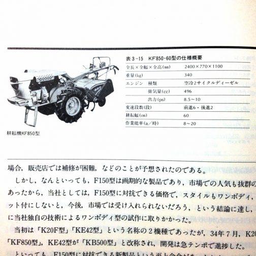 慌ててF150に遅れること8ヶ月、イセキは急遽ビクターオートと提携しエンジンを調達。1959年、昭和34年12月にF150と同じようにフルカバードでエンジンを縦置きにし、それがミッションに繋がるワンボディの耕耘機を発表したそうです。(井関農機60年史P116より)