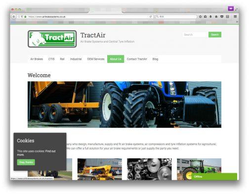 TractAirはイギリスに本拠を置く、1985年創立のグローバル市場向け、特殊用途のエアブレーキシステムの会社。