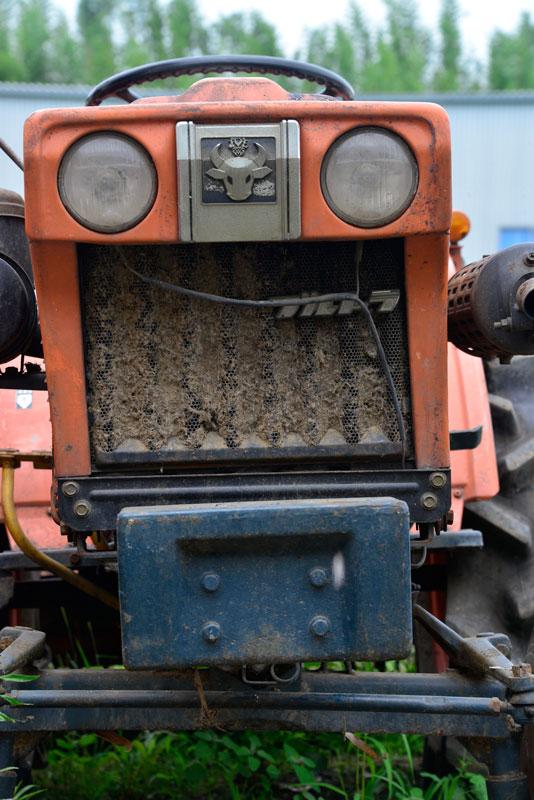 正面のグリルにはススキの穂と泥が混じったようなものがビッチリくっついています。以前最後に「E」の付かないB7001を見たことがありますが、同じ顔です。