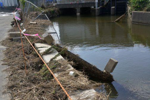 大排水路のフェンスが排水路に向かって倒れています。石川川に排水していた排水機場はどうしても川より水位が低く、川から溢れた水が落ち込んでこのようになったと思われます。
