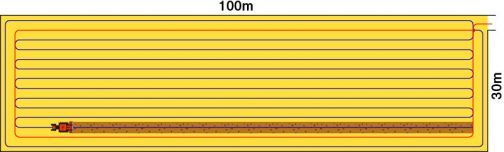 いつものように田んぼ図を作ってみました。こうやって見ると間口30m奥行き100mと書きましたが、実際は間口はもうちょっと狭くて、奥に長くなっているようです。