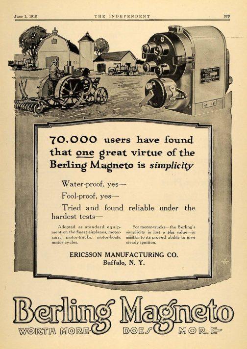 ザ・ベーリング・マグネトーはクルマはもちろん、トラクターから飛行機にまで使われていたみたいなんです。