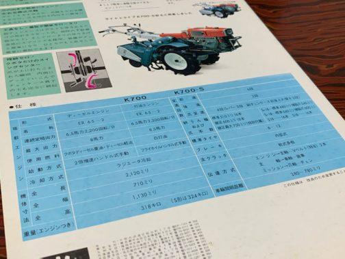 K700に乗っているエンジンはER65-2型ディーゼル6.5馬力2200rpm。(700Sは灯油エンジン仕様のことを言うのでしょうか?)ER65の初期型は1966(昭和41)年発売ですから、(ER65/ER65-1/ER65-2とモデルチェンジしたのだと思います)発動機がいくら息が長いといっても1966年から20年以上も現役ということはないでしょう。