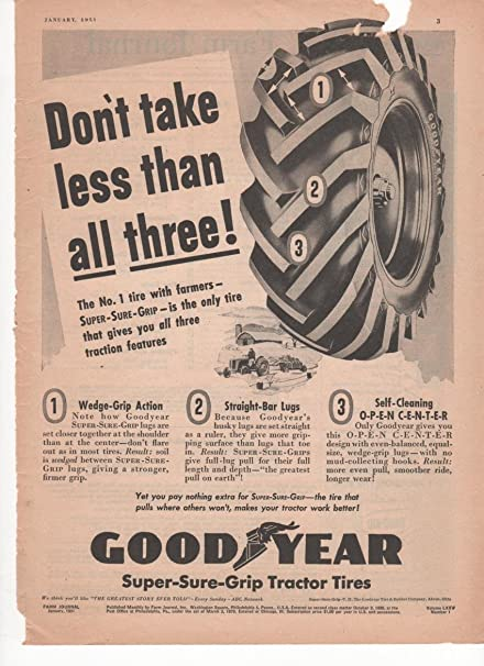 グッドイヤーの広告です。このオープンセンターのラグを持つこのパターンはどうもグッドイヤーが一番先のようです。