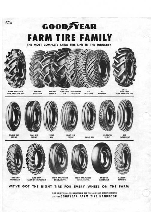 1957年の広告では推していたダイヤモンドパターンはall tractionとall weatherということになって「その他大勢」になってしまっています。 今でもゴルフ場で働くトラクターが履いているパターンではありますけど。