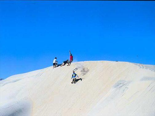 なんだか「砂丘飛びってこんなんだよ」の動画の埋め込みがうまく行かない感じなので、人間砂丘飛びの写真・・・向こうが見えないのですごく怖いんですが、砂の崖に向かって全力で走り、飛び降りるんです。恐怖心に打ち勝てば10mくらい飛び降りることができます。もちろん砂丘の風下側の砂は細かくフカフカですから、怖いだけでケガは全くしません。