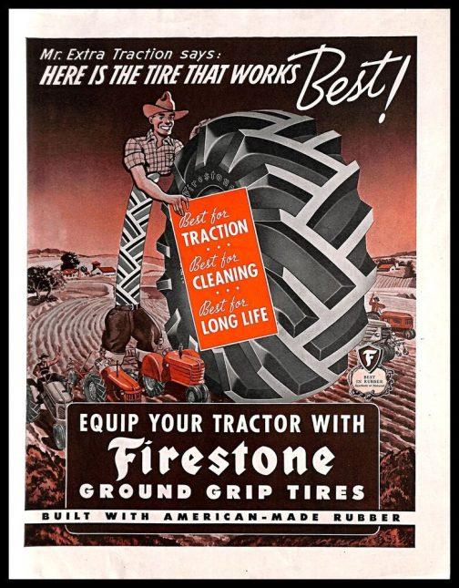 最初に標準装備され市販されたゴム製空気入りトラクタータイヤはファイアストン社製だということは昨日わかりました。