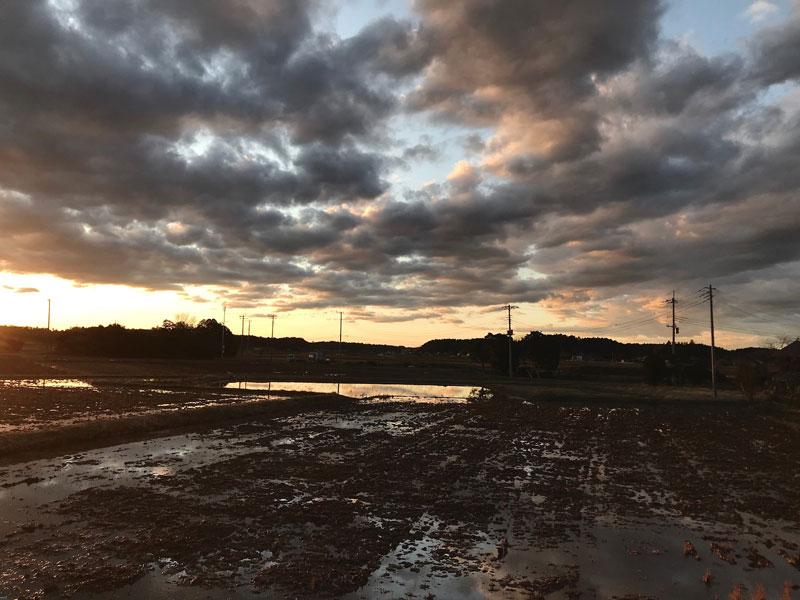 冬、雨上がりの田んぼです。夕方の景色が多いのは変化があるから。家の中にいて外の変化に気がつくのはどうしても日の登るときと日の沈む時になってしまいます。