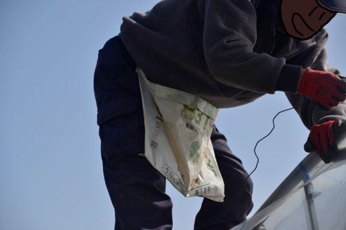 これ!ビニールを仮止めするナミナミの針金を入れている袋です。