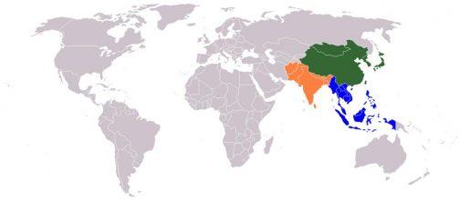現代的な意味での東洋の範囲の例。