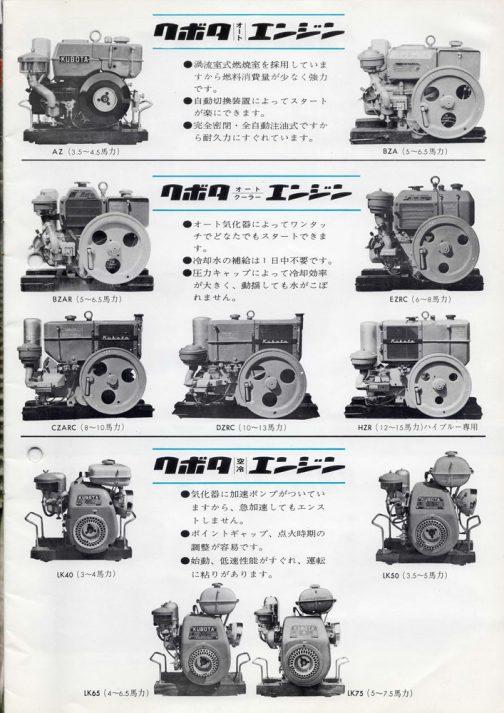 例によって、◯◯採用だから強力です。◯◯だから静かです。◯◯がついていますから××しません。といった、理由をカタカナ、もしくは、専門用語にすべて押し付けた短い特長が並ぶタイプのカタログです。(昔のカタログは皆こうでした)クボタオートエンジンはホッパー式の冷却装置、クボタオートクーラーエンジンはコンデンサタイプの冷却装置のことを指しているのですね。