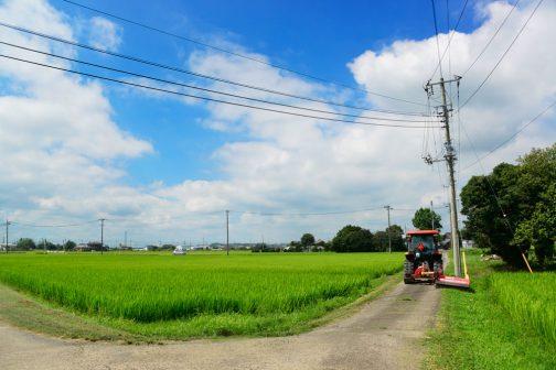 このように、地域中の田んぼの法面、農道の法面を刈って歩きます。島地区は低地で土地の斜度がゆるく、農地の法面は短いです。作業幅1200mmの機械が届く範囲を刈ると、刈払機で刈らねばならない残りはわずか。これでなんとか広い範囲ではありますが、小さな活動体でも一日で何とか刈ることができるようになりました。
