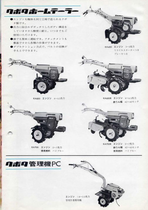 KA450、リコイルスターターつきブレーキつきと書いてあります。それ以外のホームテーラーは全部ヒモ持参ということですか!しかもブレーキなし!KA700という型番は後にヰセキでも出していましたね。