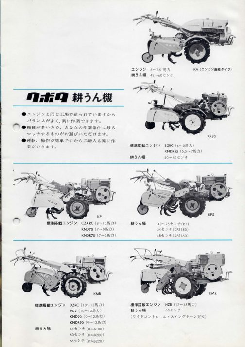 正直、耕うん機は使ったこともなければ、実物を見たことだってそんなにないので良くわかりません。ただ、農業が機械化する段階で爆発的に広がったマシンということで避けて通れません。今、盛んに情報を蓄積しているところです。