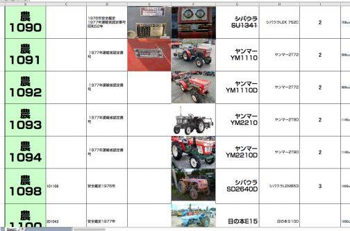 シバウラからスムーズにつながりました。多くのトラクターが登録された1977年組です。少し番号が飛んでまたシバウラが来ていますから、1095号はシバウラかもしれません。